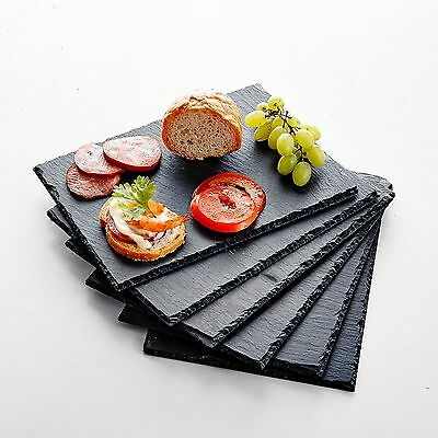 "6-Piece 8.75"" Natural Slate Stone Rectangle Placemats Hand Made Tablemat Mats"