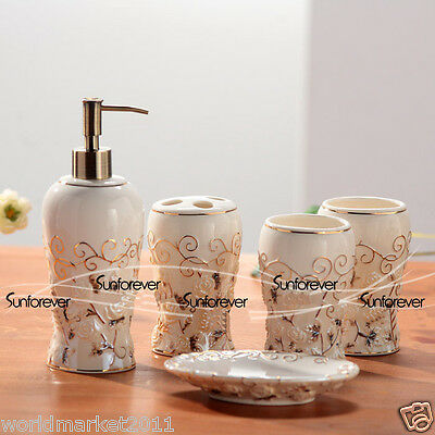 Gradient Ceramic 5-in-1 Soap Dish/2 Tooth Mugs/Emulsion Bottle/Toothbrush Holder