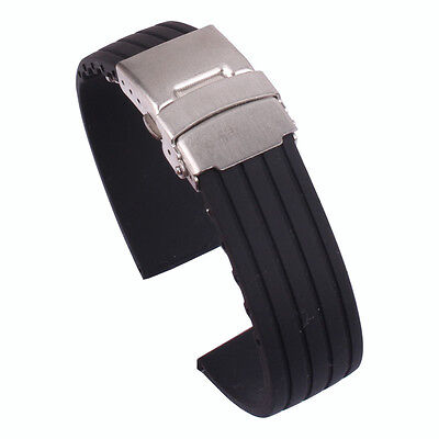 Black 16/18/20/22/24mm Silicone Rubber Folding Clasp Watch band Wristwatch strap