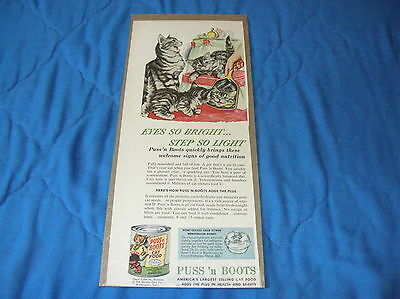 Puss 'n Boots Cat Food Small Magazine Ad - Striped Cats - 1953