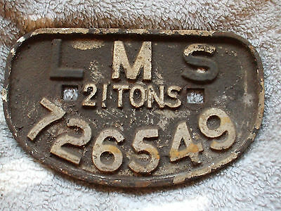 """A cast iron wagon plate """" LMS 21 Tons 726549"""""""