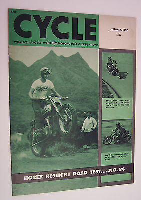 Cycle Magazine-Feb 1957-Horex Resident Road Test,  1957 Models,nice Condition