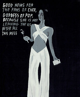 "Folk Art Painting Acrylic On Wood ""the Goddess Of Pop"""