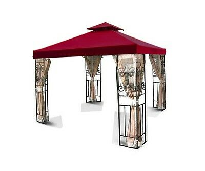 New 10'x10' Replacement Two-Tiered Garden Patio Gazebo Shade Canopy Top Burgundy