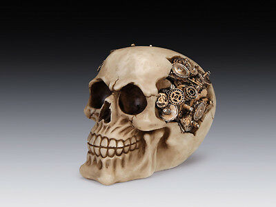 e74aabaa8f2 Steampunk Skull Gear Brain Head Figurine Statue Skeleton Halloween