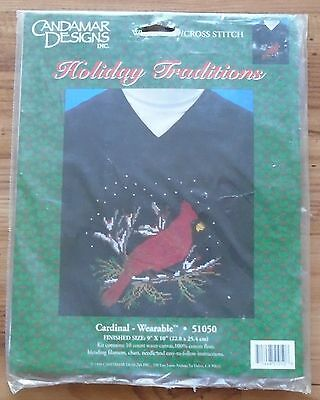 Vintage Cardinal Wearable Cross Stitch Holiday Traditions Sealed