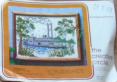 Vintage Riverboat Cross Stitch Made In Usa By Phyllis Kiger Usa Flag Complete