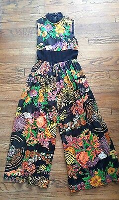 VTG 60s 70s Wide Leg Sleeveless Wide Leg Palazzo Disco Hippie Jumpsuit Floral S