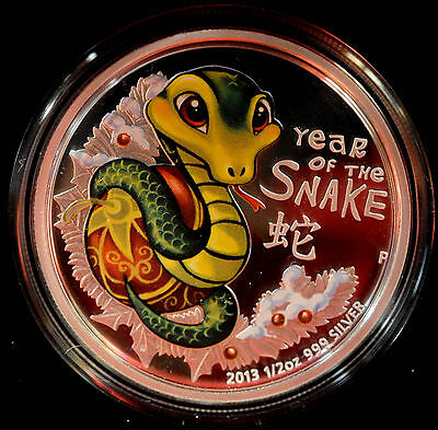 2013 AUSTRALIA YEAR OF THE SNAKE 1/2oz Silver Coin
