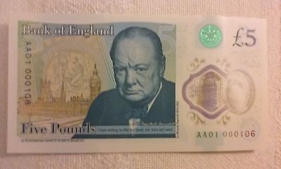 £5 B414: Rare Bank of England Polymer AA01 000106 (VERY LOW SERIAL NUMBER)