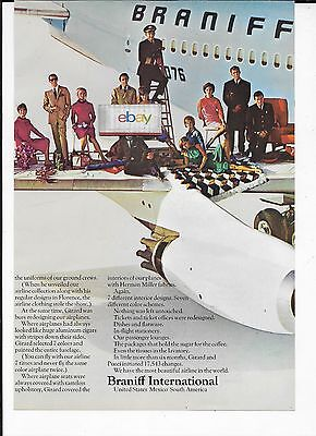 Braniff International 4 Pg The End Of The Plain Plane Uniforms Jelly Bean 707 Ad
