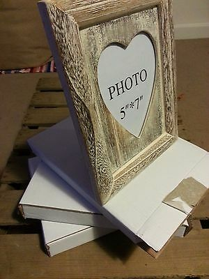 6 x Heart Wooden Photo Frames Shabby Chic/Rustic Home/Wedding Decor White JOBLOT