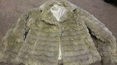 *stunning* M&s Autograph Beige Fur Jacket Coat With Diamante Button Age  11/12 Y