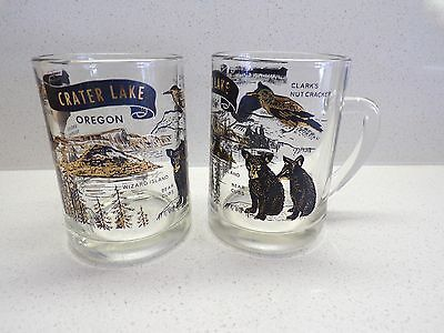 LOT 2 CRATER LAKE OREGON SOUVENIR GLASS MUGS GLASSES COFFEE cup BEER