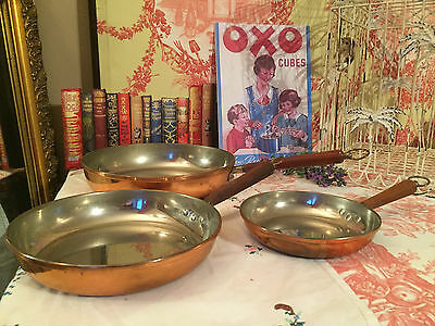 Set of 3 Copper Plated Frying Pans Made in Portugal (With Vintage Wear)