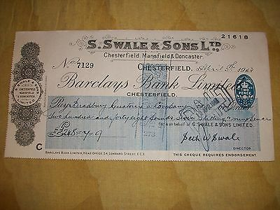 1943 - Ww2 Cheque: S.swale & Sons Ltd, Chesterfield, Mansfield + Doncaster.