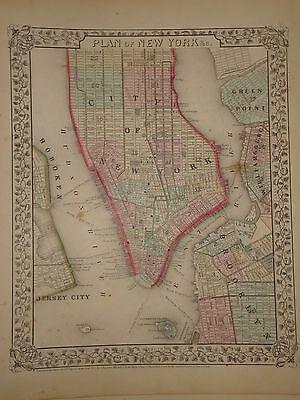 Vintage 1867 New York City - Gotham Map ~ Old Antique Atlas Map *free S&h 111516