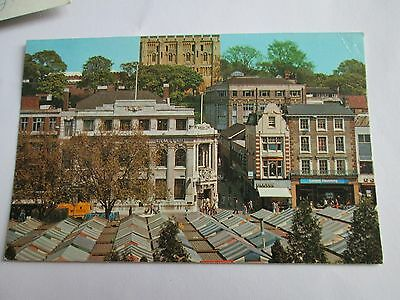 Postcard of The Market Place and Castle, Norwich posted