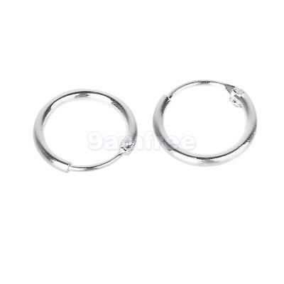 Non allergic 925 Sterling Silver Small Sleepers Hinged Hoops Earrings 8mm