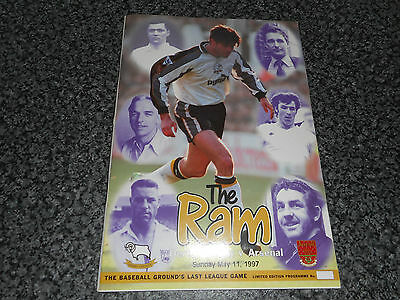 DERBY COUNTY v ARSENAL 1996/7 ~ MAY 11th *LAST EVER GAME AT BBG* LIMITED EDITION