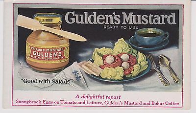 RARE 1930's GUILDEN'S MUSTARD ADVERTISING CARD WITH BEAUTIFUL COLORS - ART DECO
