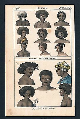 1830 Papuan people Pulau Rawa Australia costumes Lithographie lithograph