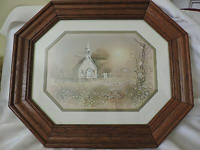 Home Interior Homco octagon Oak frame matted church