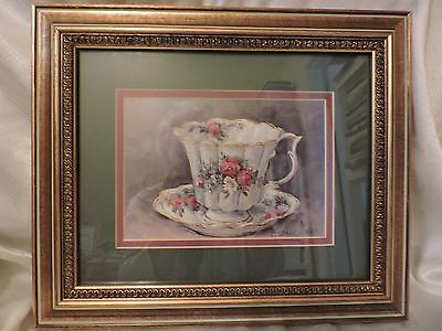 "Large Barbara Mock double matted & framed tea cup & saucer 10 1/2"" x 12 1/2"""