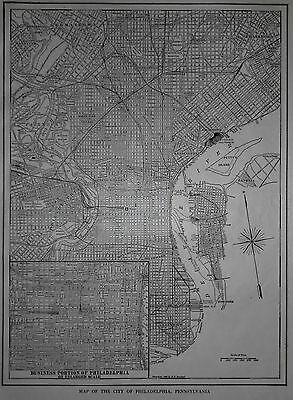 Vintage 1914 Atlas City Map Philadelphia, PA Penn Pennsylvania &Plymouth England