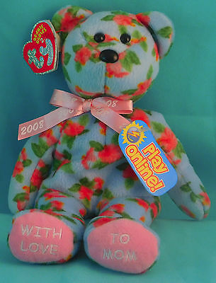 Ty Beanie Babies 2.0 Mother's Day Bear MOTHERLY Mom Floral Rose Plush w/ Tags