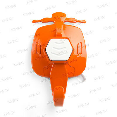 KiWAV old-style-scooter suction cup wall hanger-Blaze Orange with white button
