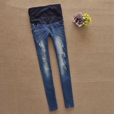 New Pregnant Women Jeans Maternity Ripped Belly Cover Denim Trouser Pencil Pants