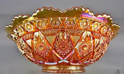 CARNIVAL GLASS - IMPERIAL DIAMOND LACE Marigold Round Flared Master Berry Bowl