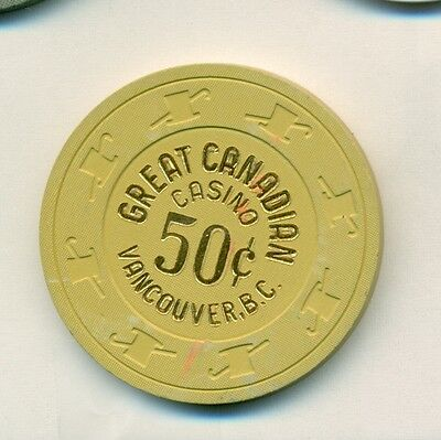 $.50 Cents Great Canadian  Casino Poker Chip- Vancover