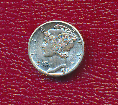 1943-D Mercury Silver Dime **beautiful Uncirculated Dime** Free Shipping!