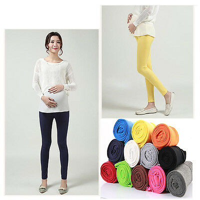 New Pregnant Women Leggings Stretchy Pure Color Maternity Pants Comfort Trousers