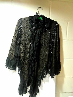 Vtg 1890 Victorian Beaded Women's Black Mourning Cape Widow Coat Wrap Use Craft