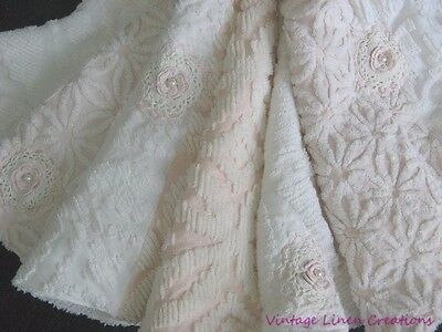 PINK COTTAGE CHRISTMAS * Vintage PLUSH CHeNiLLe & Pearly ROSES *Large TREE SKIRT