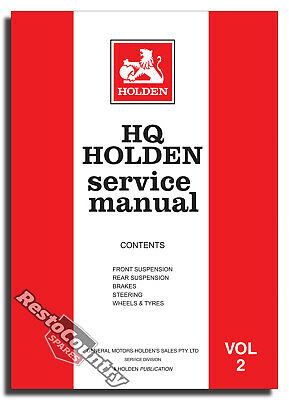 Holden GMH Factory HQ Vol 2. Service Manual -Suspension Brakes NEW workshop book