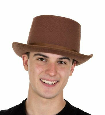 "5"" Tall Brown Felt Steampunk Victorian Men's Short Top Hat Costume Accessory"