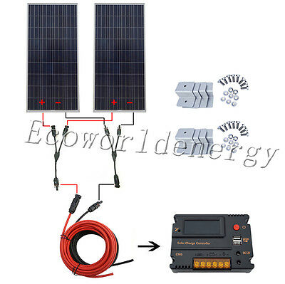 300W 12V off Grid COMPLETE KIT:  2*160W Solar Panel w/ Temperature Reguator