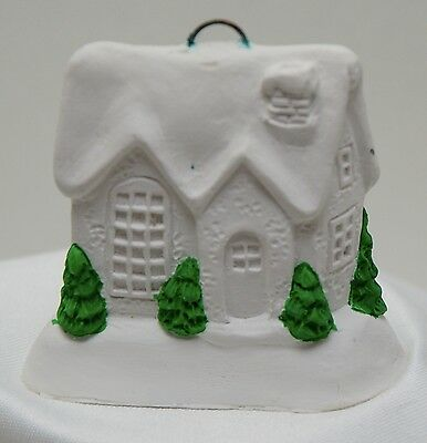 """Plaster to Paint Ready Christmas Ornament House 2-1/2"""" California Creations"""