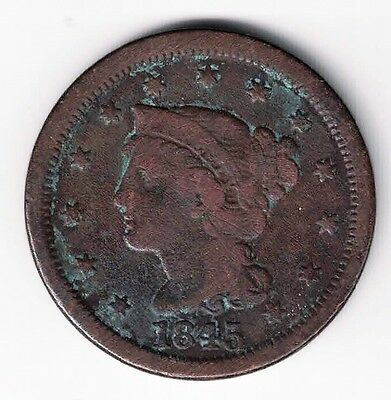 1845 Braided Hair Large Cent Copper Coin