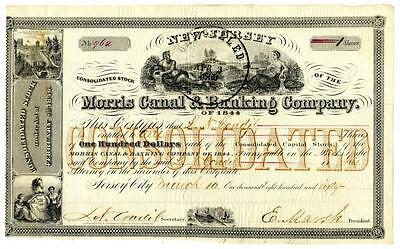 1860 Morris Canal & Banking Company New Jersey Stock Certificate Jersey City