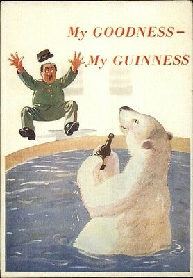 Breweriana Guinness Beer Advert Man Scared by Polar Bear Vintage Postcard