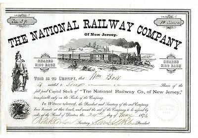 1873 National Railway Company New Jersey Stock Certificate Railroad US Mail