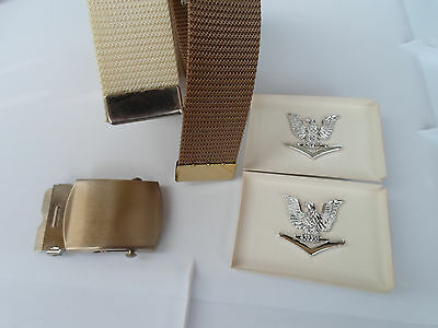2 Military Issue Web Belts Belt + Buckle + 2 Pins Usmc Army Uniform Officers