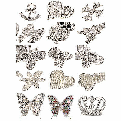 Quality Rhinestone Diamante Crystal Transfer Hotfix Iron on Motif Appliqué Craft