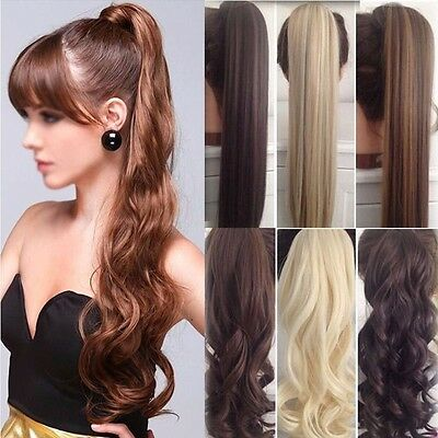 One Piece Real Thick Clip in Ponytils Hair Extensions Blonde Brown Ponytail Hair