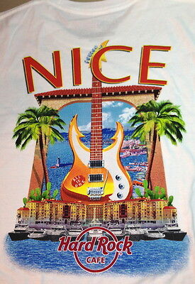 Hard Rock Cafe NICE FRANCE 2014 City Tee T-Shirt LARGE Mens White NEW w/HRC Tags